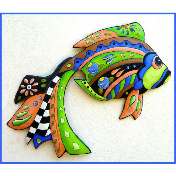 """Tropical Fish Wall Hangings - Painted Metal Nautical Decor - 15"""" x 24"""" ($50) via Polyvore featuring home, home decor, wall home decor, colorful home decor, nautical theme home decor, metal home decor and nautical home accessories"""