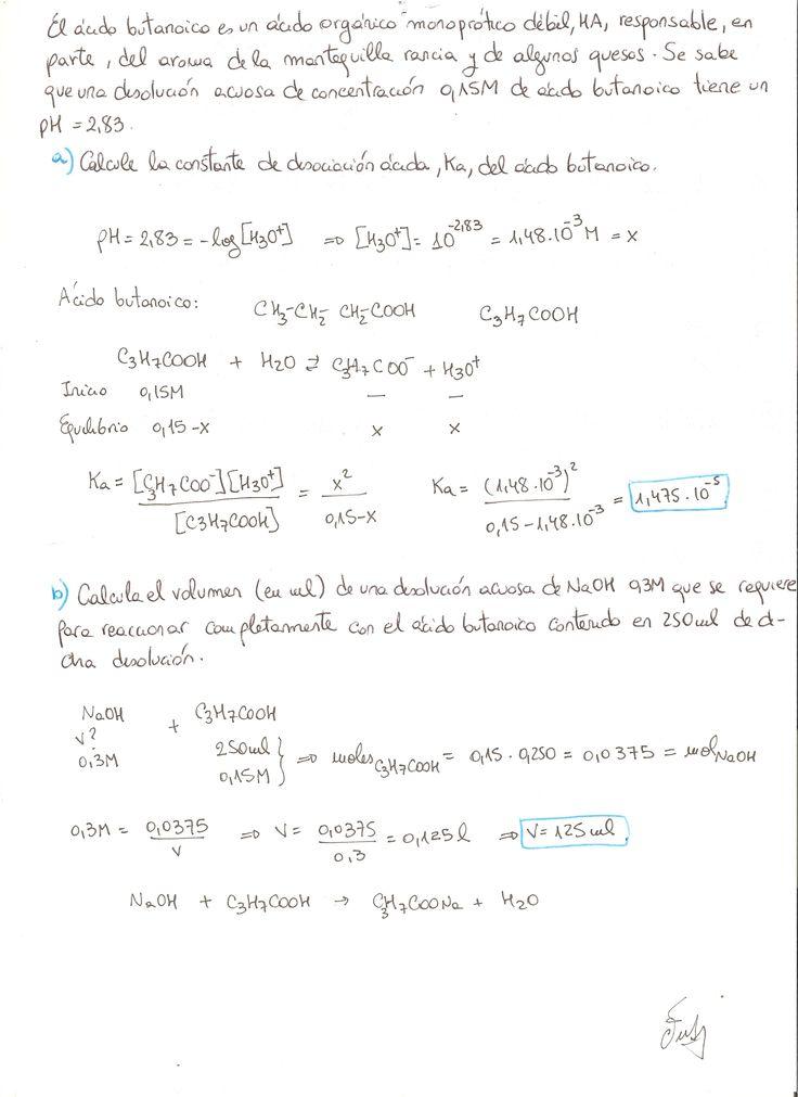Ejercicio resuelto de ácido - base, nivel de segundo de bachillerato, química