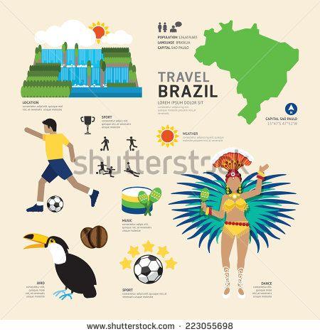 Travel Concept Brazil Landmark Flat Icons Design .Vector - stock vector