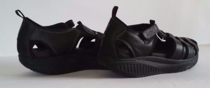 Skechers Shape Ups Black Leather Fisherman Sandals Women's US Shoe Size 8M #SKECHERS #Strappy