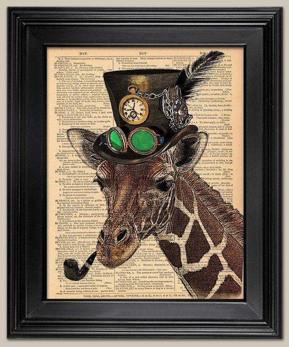 Steampunk Dandy Giraffe A3 Art Print Wall Art Home Decor Victoriana