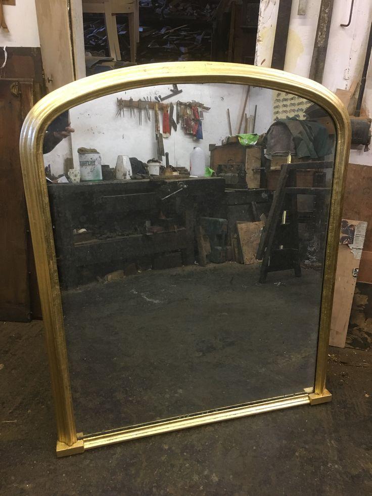 Large gilt Victorian mantel mirror with its original mercury mirror