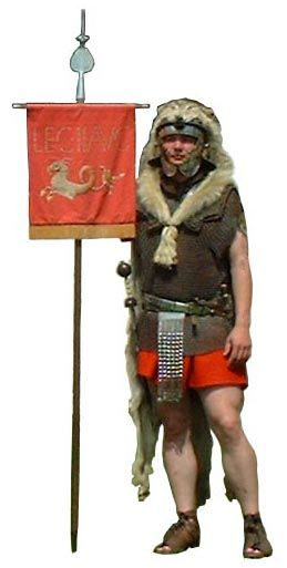 The vexillarius.   When a detachment was sent out they took a vexillum, a flag type standard. This showed which Legion they belonged to. It was carried by the vexillarius.