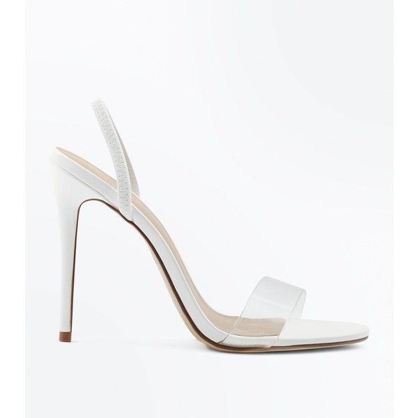White Clear Strap Slingback Stiletto