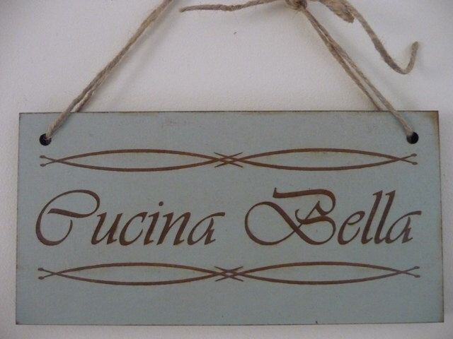 Kitchen Sign, Cucina Bella Italian Sign, Distressed Sign, Wooden Sign, Kitchen Wall Plaque by Crafu on Etsy https://www.etsy.com/listing/208716425/kitchen-sign-cucina-bella-italian-sign
