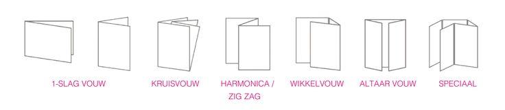 verschillende manieren waarop je een folder kan vouwen