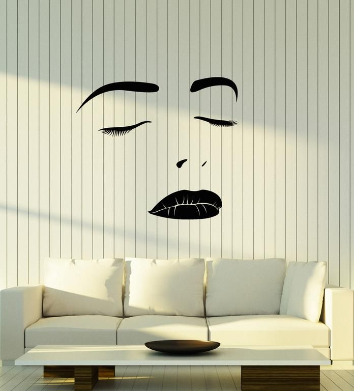 Vinyl Wall Decal Beautiful Woman Face Girl Lips Eyelashes Makeup Stickers 2085ig