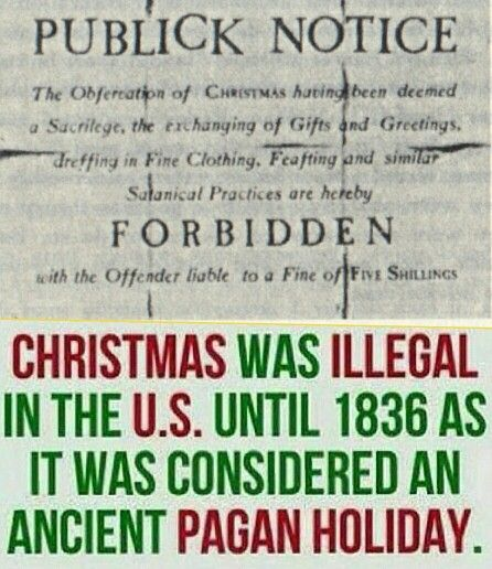 Winter Solstice:  #Christmas is pagan and used to be illegal in the U.S.