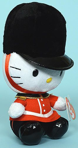 Hello Kitty Ty Beanie Baby in London Guard outfit (46202). She was released in time for the London 2012 Summer Olympics.
