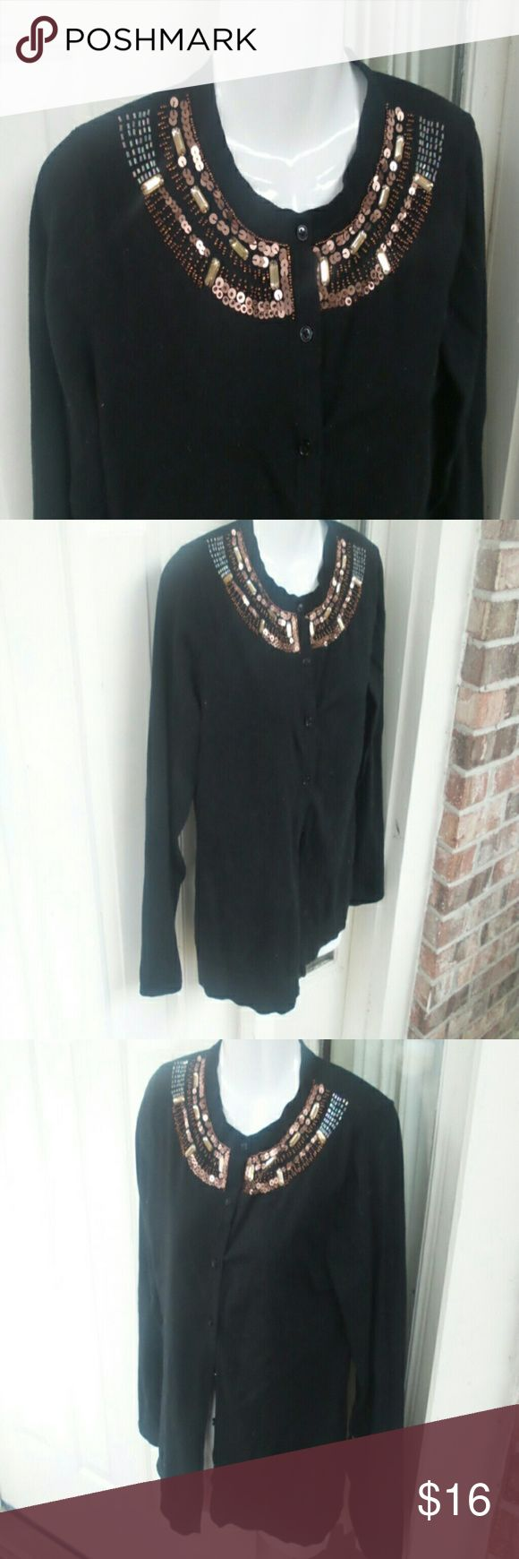 Covington beaded and sequin cardigan MP Covington beaded and sequin cardigan  Medium petite Great preowned condition Covington Sweaters Cardigans