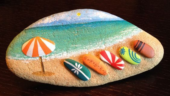 Surfboards on the beach ready for the action! #rockpainting: