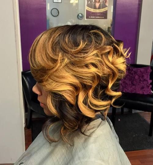long curly two-tone bob sew in