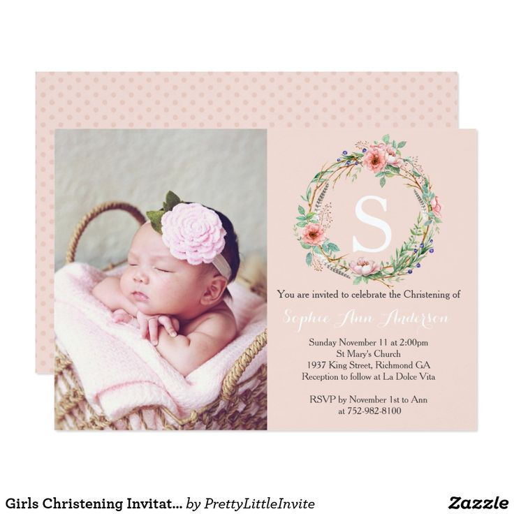 Girls Christening Invitation Pink Wreath 44