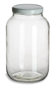 Specialty Bottle - 1 Gallon (128 oz) Clear Widemouth Glass Jar with White Metal Lid, $4.19 (http://www.specialtybottle.com/glass-jars/gallon/1gallon-gal1f)