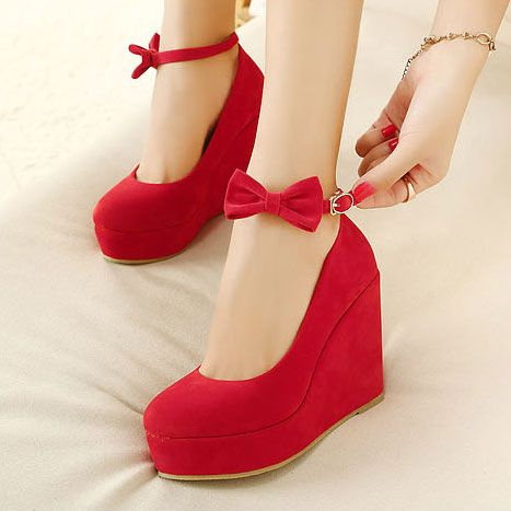 Price:$28.99 Color: Black/Red European Style Elegant Bowknot Wedge Shoes