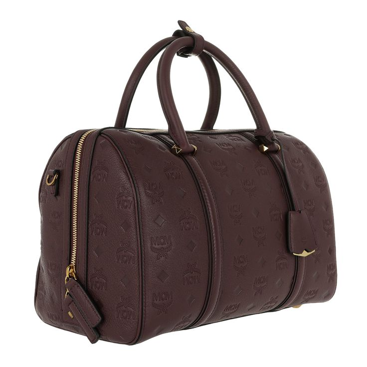 Handtasche, MCM, Signature Monogrammed Leather Bosto Rustic Brown