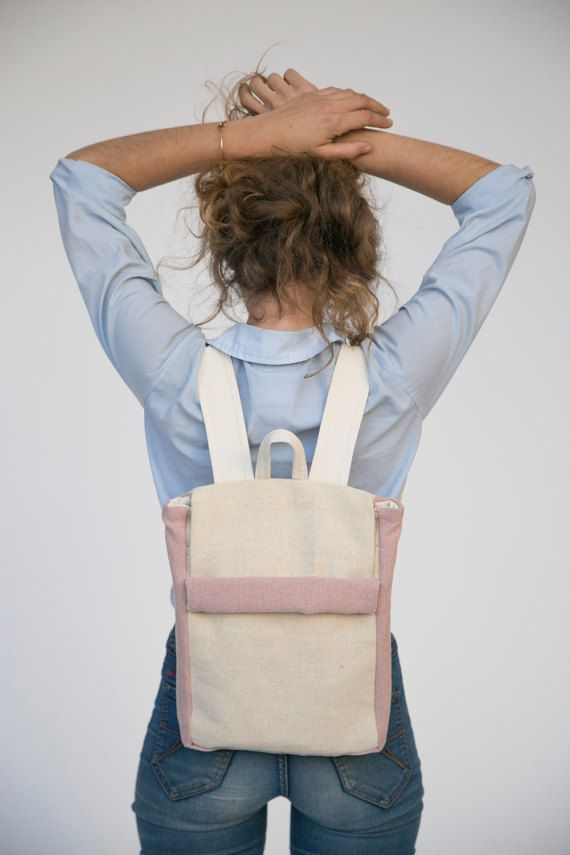 small backpack in beige and pink color nude backpack by Marinsss