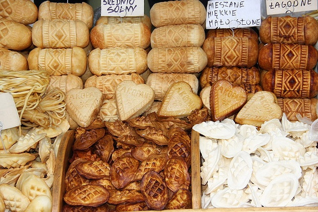 Oscypek (pl. oscypki) is a type of smoked Polish cheese that is traditionally made only in the Tatra mountains. Hand made from unpasteurized mountain sheep milk on small local farms, the tradition of making this cheese has remained mostly the same since the 14th century. Sold seasonally without packaging or label, oscypek is found almost exclusively in local markets.