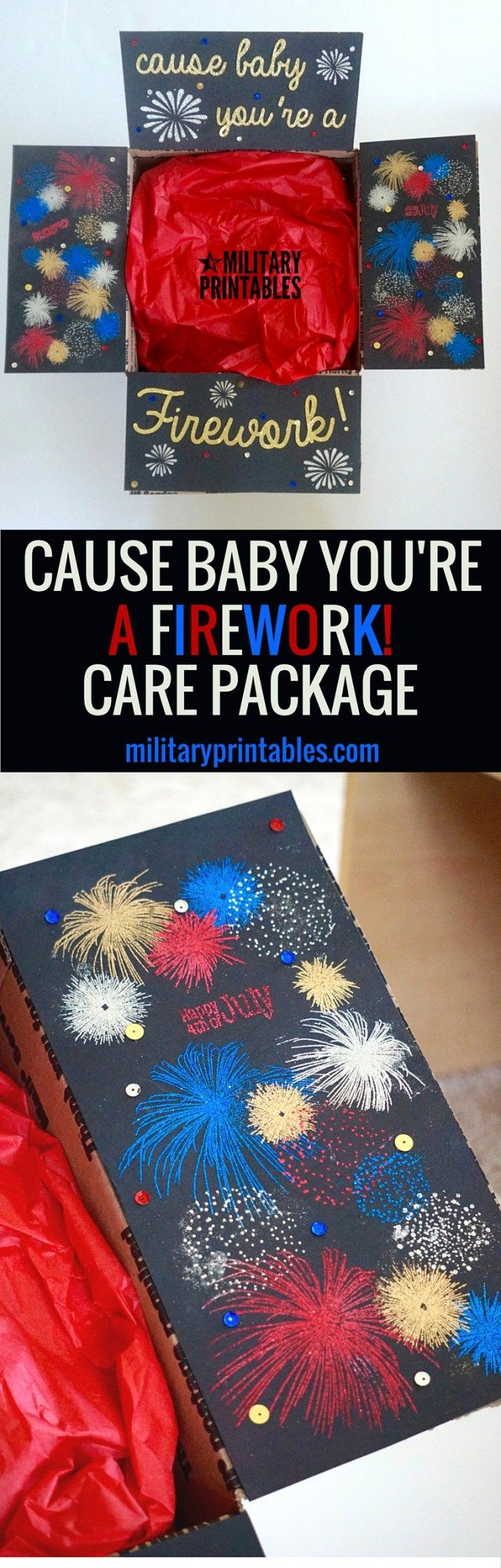 4th of July patriotic, red, white, and blue with fireworks. Cool Care package Idea!