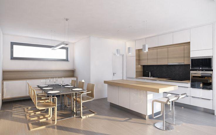 Kuchyni s jídelním koutem jsme navrhli v kombinaci bílého lesku a světlé dýhy běleného dubu. Veškeré spotřebiče a dřez jsou umístěny na zadní stěně, čímž jsme dosáhli toho, že velkorysý ostrůvek bude majitelům sloužit celý jako pracovní plocha. Přímo z kuchyně je přístupná prostorná klimatizovaná spižírna.