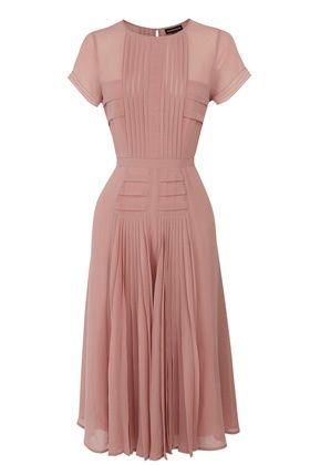 Pleated Bodice Skirt Midi Dress dusty rose pink