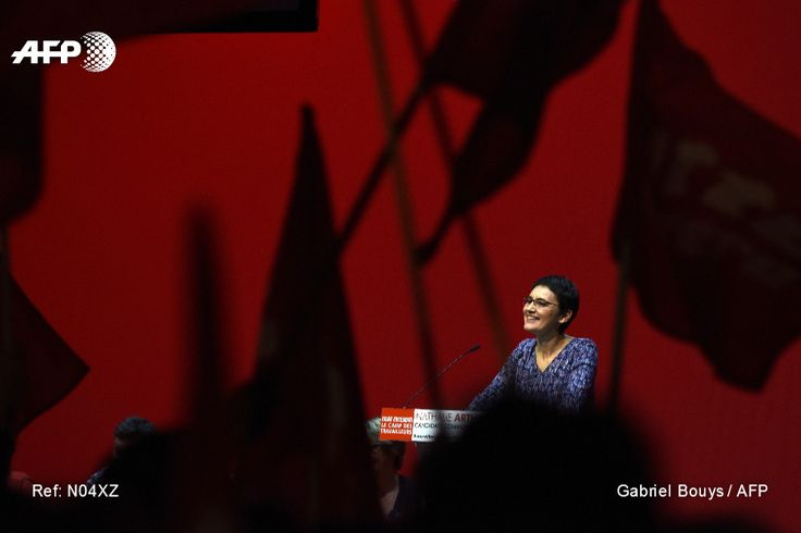 French presidential election candidate for the far-left party Lutte Ouvriere (LO) Nathalie Arthaud delivers a speech during a meeting on March, 26, 2017 in Saint-Denis, near Paris. GABRIEL BOUYS / AFP