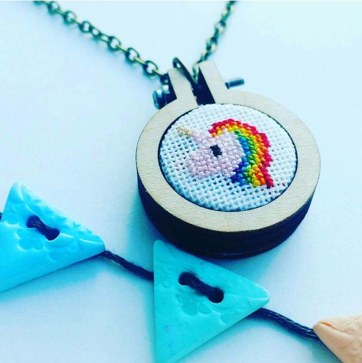 "1.1"" tiny rainbow unicorn hoop necklace. Available in my etsy store.  www.etsy.com/uk/shop/SewCrossHandmade"
