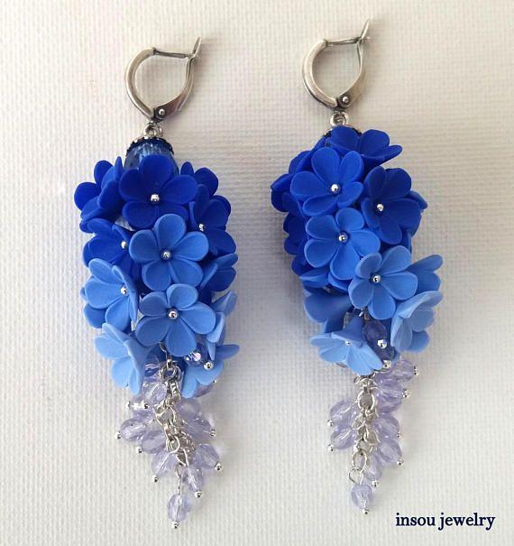 Statement Earrings Blue Earrings Ombre Earrings Dangle