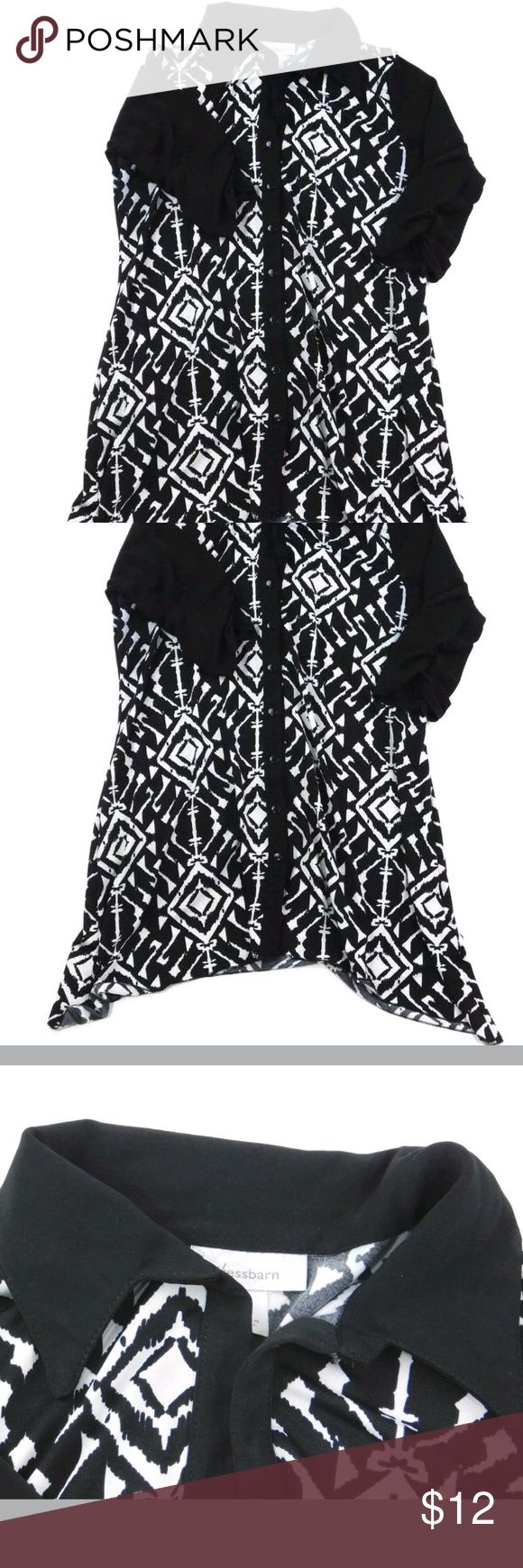 Dress Barn Black & White Button Down Rouched This black