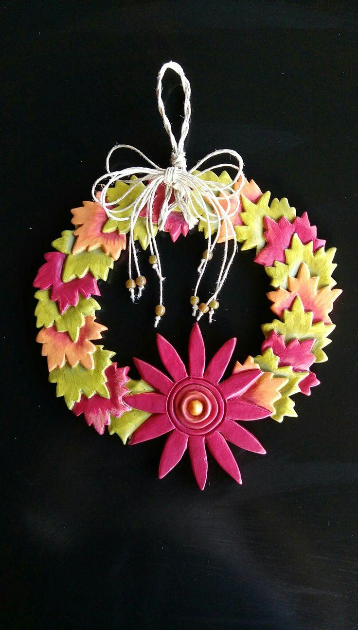Seramik kapı süsü -Sonbahar yaprakları-
