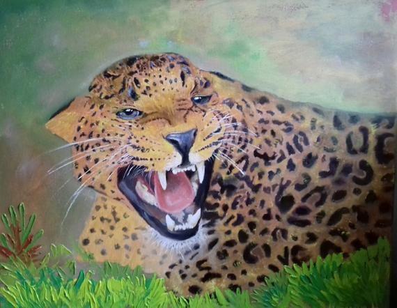 Beautiful Self Leopard Lady Canvas Art Original Wild Cat Art Cat Art Gift Leopard Mini Art Inspirational Quote Art