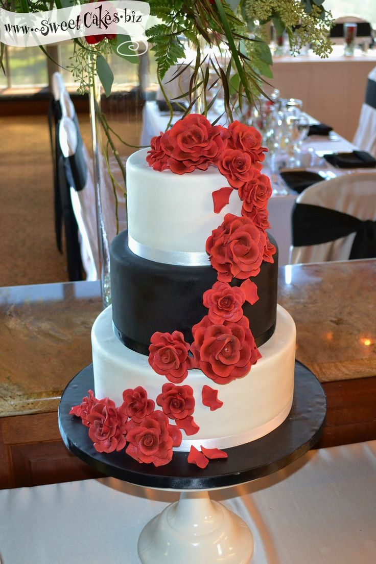 Red Rose Wedding Cake 3 tier fondant wedding cake with