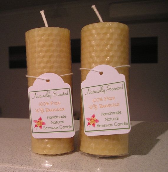 Pure Beeswax Rolled Candle 10.5cm x 4cm 2 of by NaturallyScented, $14.00