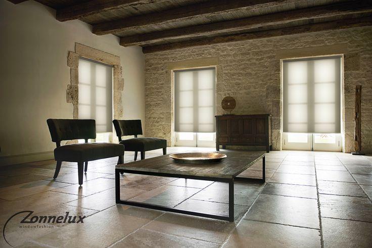 Transparante rolgordijnen in de woonkamer.