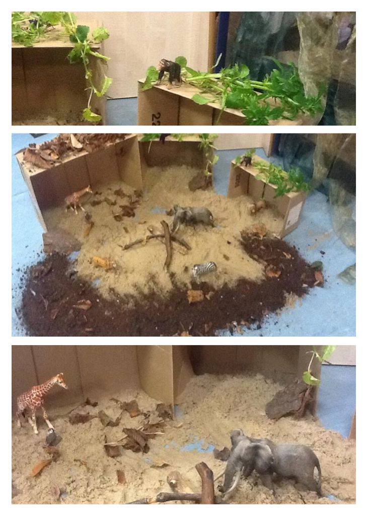 Add some boxes, sand, soil, vegetation and you can transform a few simple small world animals into something to excite and inspire young minds.  EYFS . Activity in Woddlers at Kids Allowed