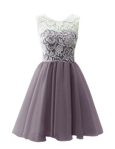 2016 Custom Charming Purple Homecoming Dress,Sexy See Through Evening Dress,Cute Lace…