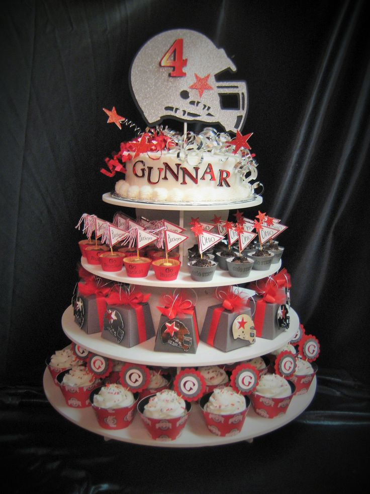 Football Themed Round Cupcake Tower Stand Sweet 16