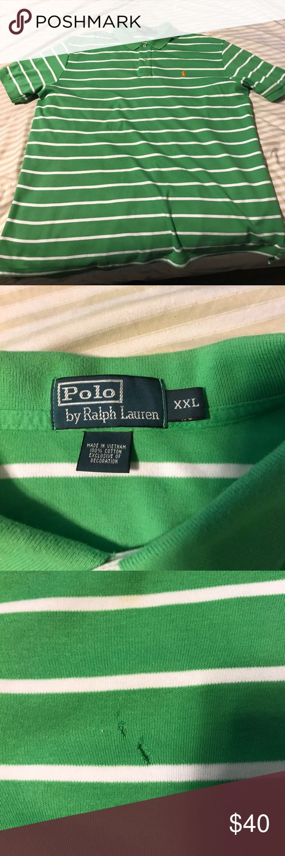 Green polo shirt with white strips A 2x green polo shirt with white strips and has a small hole on the front and a stain on the back that can be fixed Shirts Polos