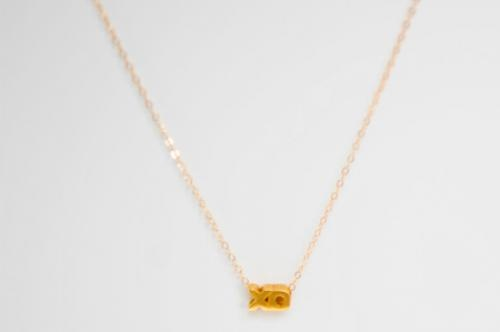 "Gold filled XO charm on a 16"" gold filled chain with a 2"" extension. Enter code TIDBITS in-store or at check out for a special 15% discount. #gotidbits"