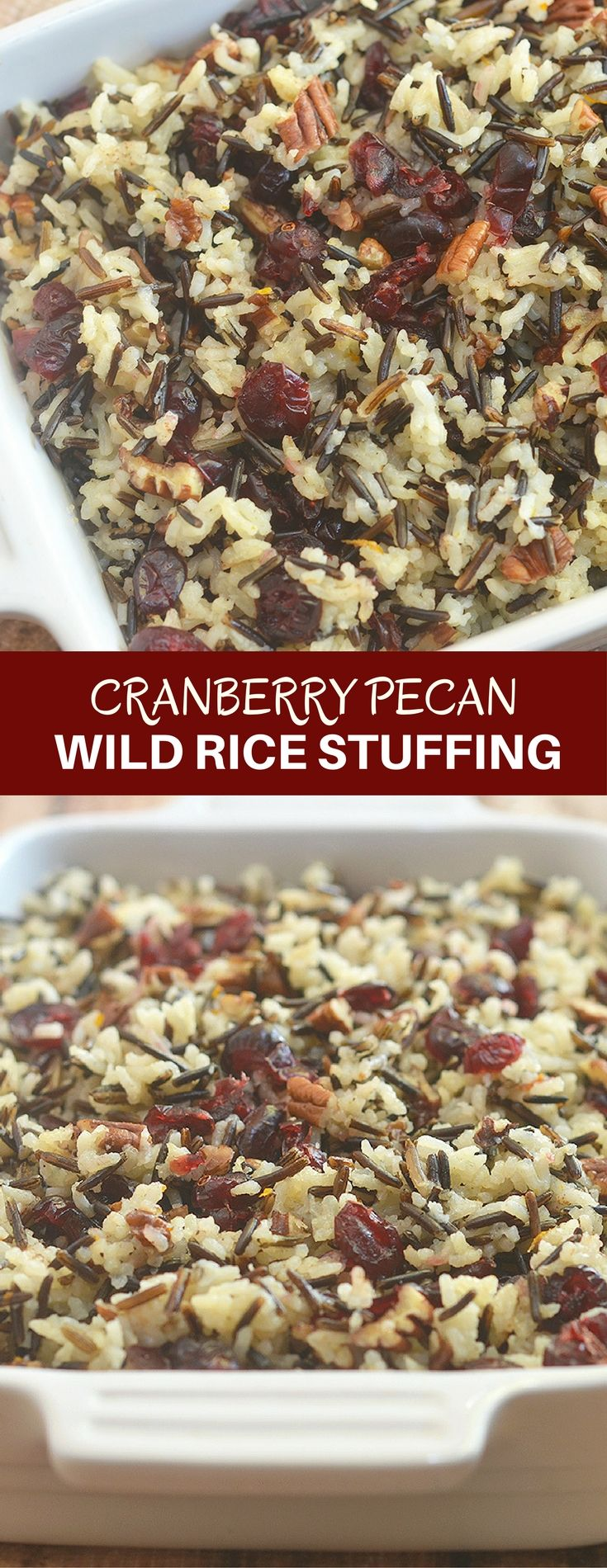 Cranberry Pecan Wild Rice Stuffing is a festive addition to your Thanksgiving celebration. Loaded with tart cranberries, toasted pecans, and orange zest, it makes a fantastic side dish or turkey stuffing! via @lalainespins