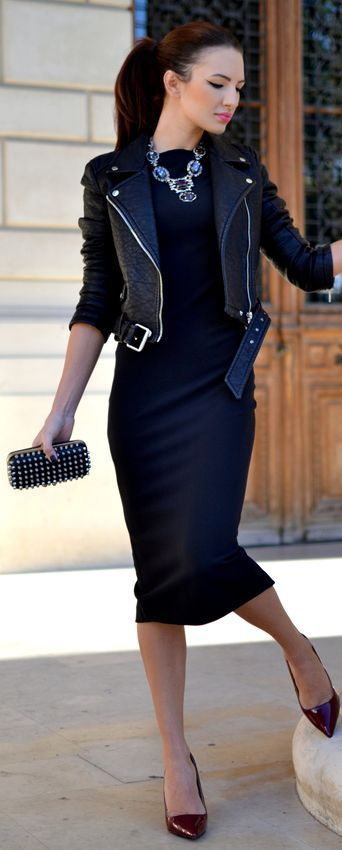 This combo of a black leather moto jacket and a deep blue bodycon dress will attract attention for all the right reasons. Throw in a pair of burgundy leather pumps to instantly up the chic factor of any outfit.  Shop this look for $103:  http://lookastic.com/women/looks/necklace-biker-jacket-bodycon-dress-clutch-pumps/4849  — Navy Necklace  — Black Leather Biker Jacket  — Navy Bodycon Dress  — Black Studded Leather Clutch  — Burgundy Leather Pumps