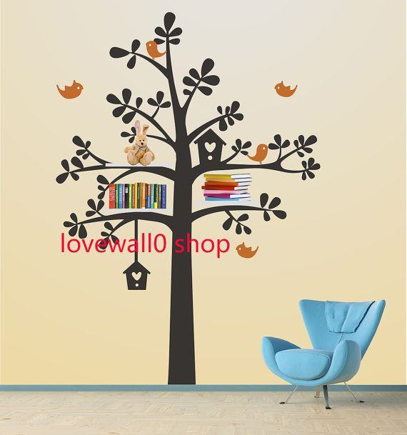 sheving tree with leaf leaves bird shelves shelf birds room house wall sticker Art  Murals stickers decal decor removeable 719 on Etsy, $73.38 AUD