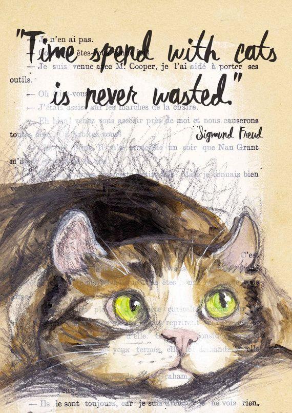 Quote Print-Cat Illustration-Art Print-Cat Art-Home by EvaFialka
