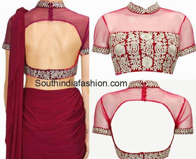 collar neck blouse designs