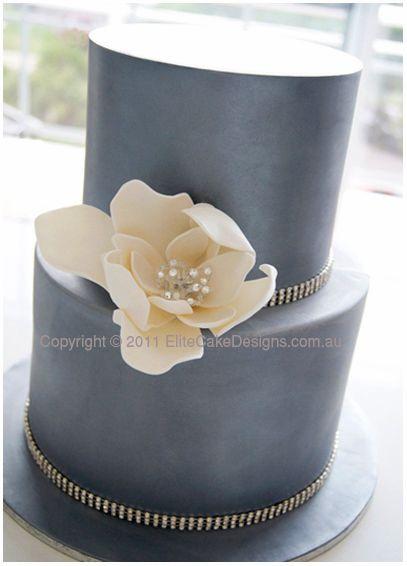 Charcoal Silver Wedding Cake with Swarovski Crystals, Modern Wedding Cakes, Wedding Flower Cakes Sydney, Modern Wedding