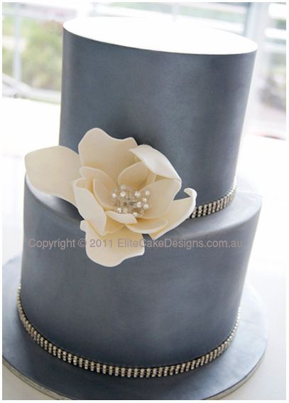 Charcoal Silver Wedding Cake with Swarovski Crystals, Modern Wedding Cakes, Wedding Flower Cakes Sydney, Modern Wedding