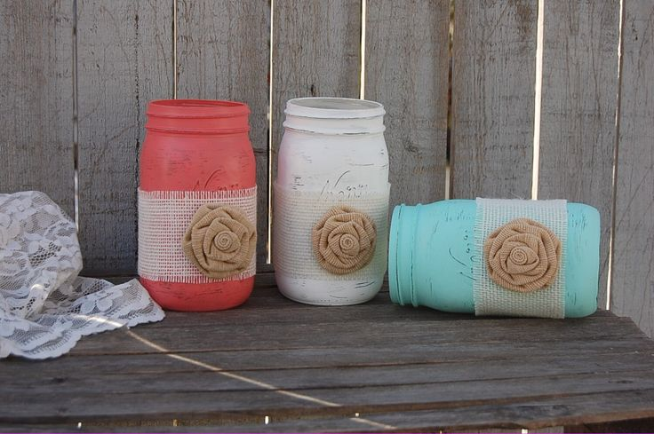 Mason Jars, Shabby Chic, Mint Green, Coral, White, Painted Mason Jars, Distressed, Burlap, Rustic, Country, Beach, Wedding Decor by TheVintageArtistry on Etsy https://www.etsy.com/listing/225389852/mason-jars-shabby-chic-mint-green-coral