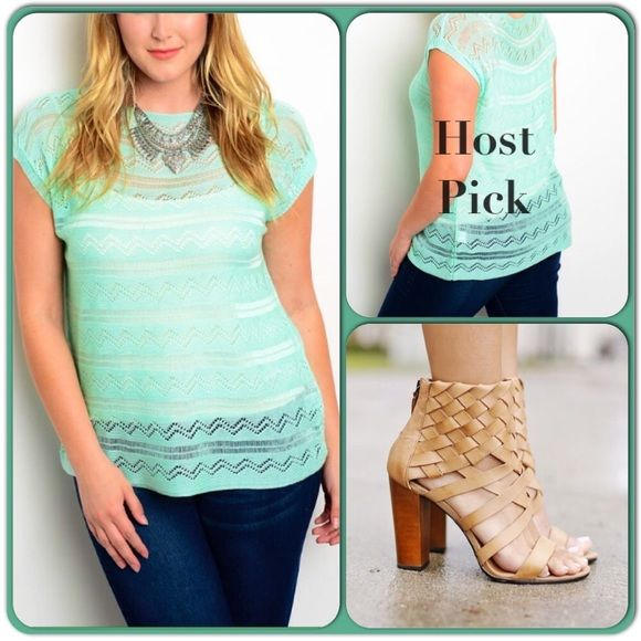Light and Comfy Mint sweater-Friday Deal This pretty sweater top is made of 100% acrylic and is light fitting and comfortable.can be perfectly paired with slacks, jeans and skirts. (This closet does not trade or use PayPal) Sweaters Crew & Scoop Necks