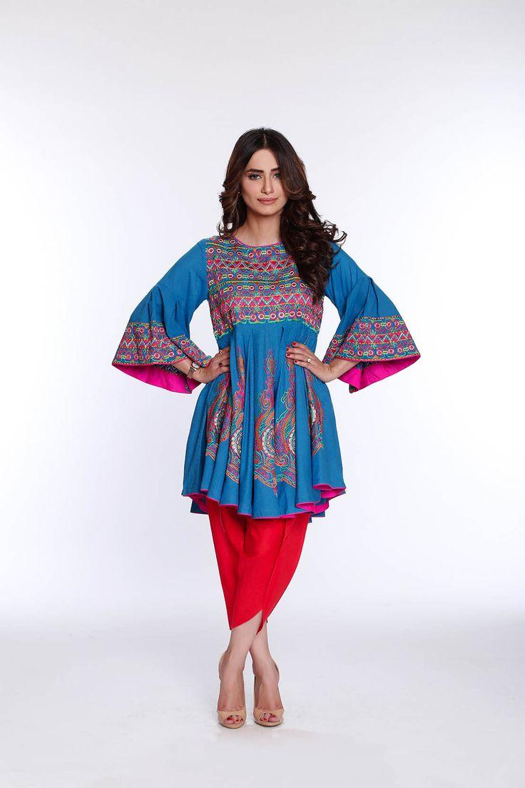 Rang Ja Trendy Eid Colorful Kurti Dresses 2016-17 Collection | StylesGap.com