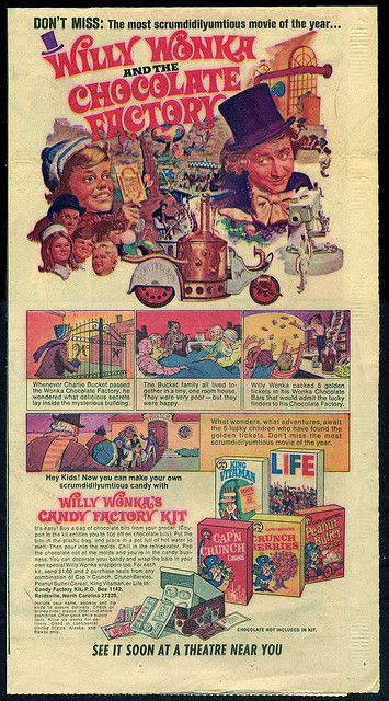 Quaker Cereal - Willy Wonka and the Chocolate Factory candy kit - newspaper ad - 1971